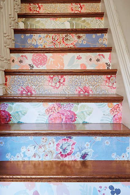 I would like stairs, just so I can do something like this...Azure Bouquet Wallpaper - anthropologie.com