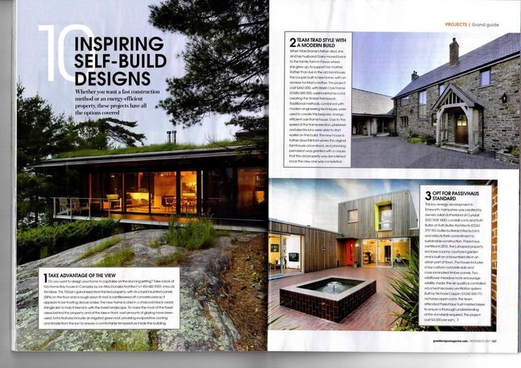 Our Hampshire Passivhaus has appeared in the latest edition of the Grand Designs magazine in their feature on inspiring self-build designs. Here's the full spread. Click on image below for the close up version Find out more about our self-build