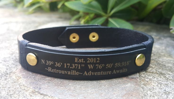 Custom Coordinates Bracelet, Engraved Bracelet, Genuine Leather Cuff, Adventure Awaits Jewelry, Long Distance Relationship Boyfriend Gift