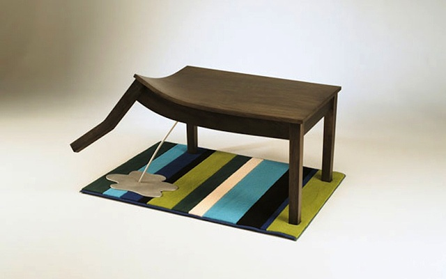 Bad Table!!  Not on the rug!!  I may have to get this for the kids' room.