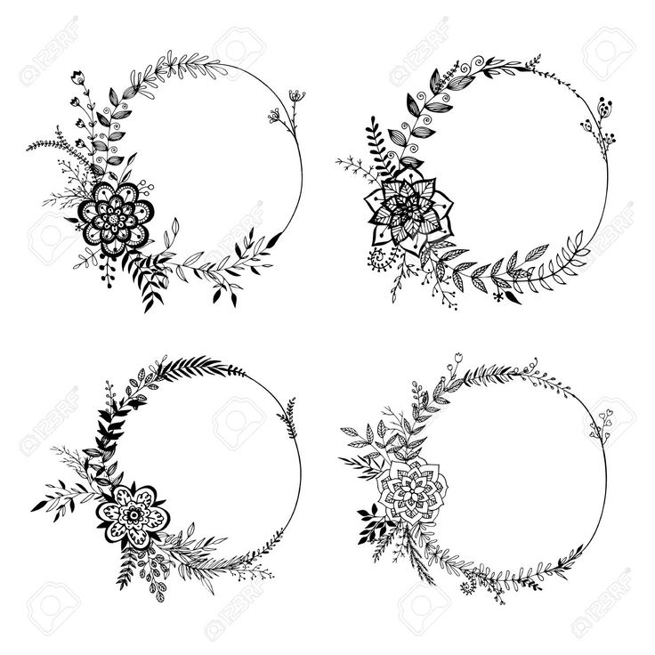 Wreath tattoo wedding bands