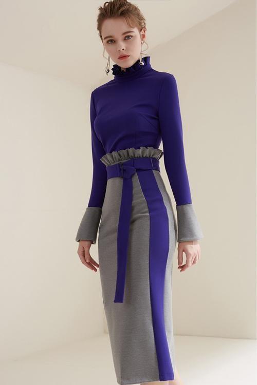 Purple Ruffle Sleeve Blouse& High Waisted Skirt