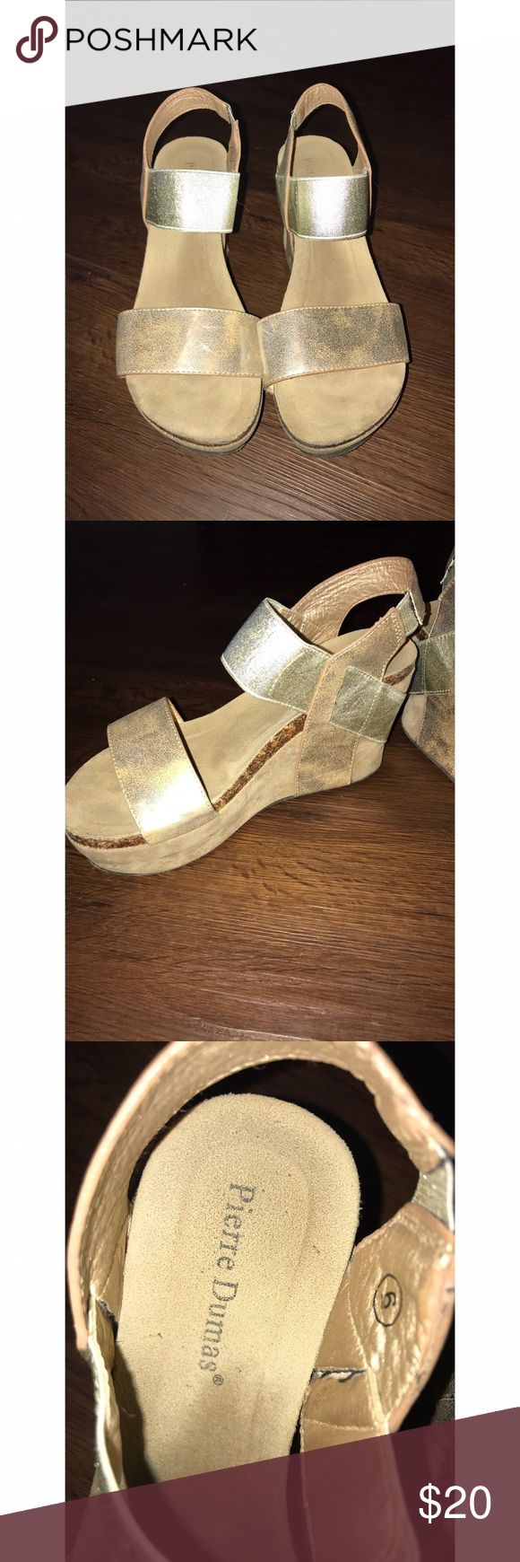 Pierre Dumas Wedges Pierre Dumas Gold Wedges! Size 6 - Just don't wear them enough --- Open to offers! :-) Pierre Dumas Shoes Wedges