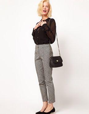 ASOS Super Skinny Pants In Herringbone Print