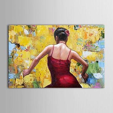 handgeschilderde olieverf mensen dansen meisje in het rood Spaans meisje met gestrekte frame – EUR € 69.99