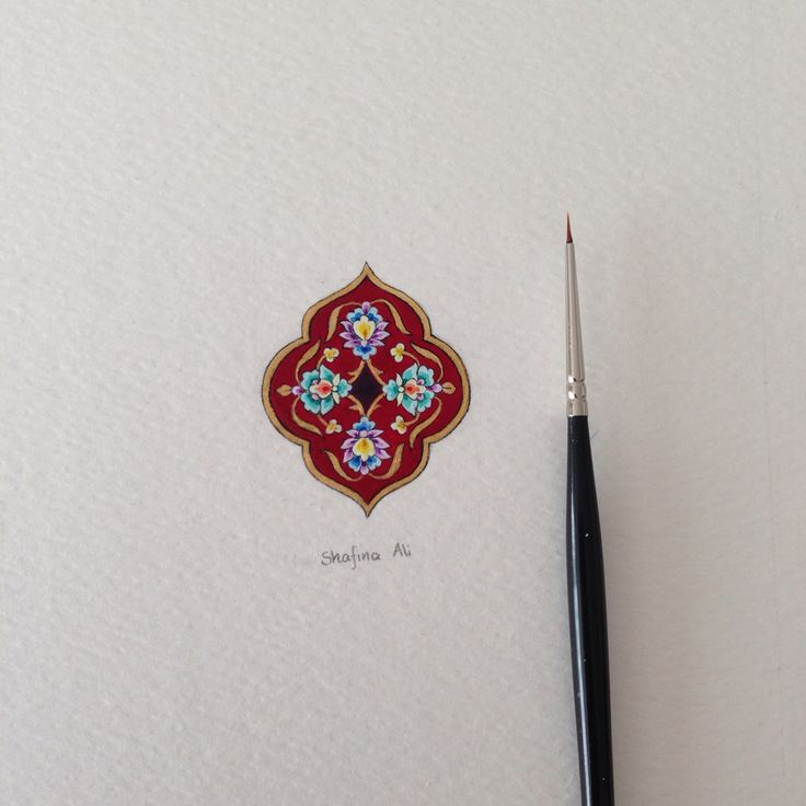 Handpainted miniature painting - size: 4.1cm x 3.3cm, gouache, Watercolour and calligraphy ink on cold press 300gsm Watercolour paper. By Shafina Ali