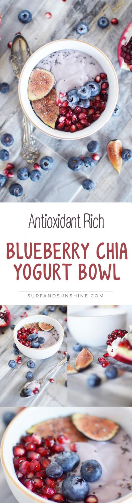 This delicious flavor packed Blueberry Chia yogurt bowl is one of my favorite antioxidant rich recipes, is family friendly and perfect for breakfast or a healthy snack! AD via @Jeanabeena