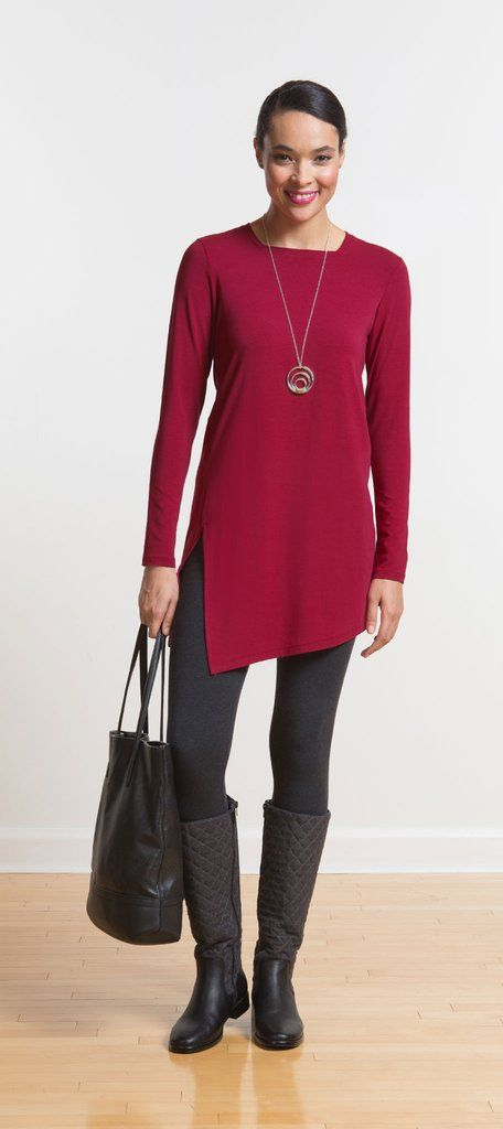 A unique square neckline and side slit make this tunic a wear-anywhere favourite over leggings, skinny jeans, or a pencil skirt