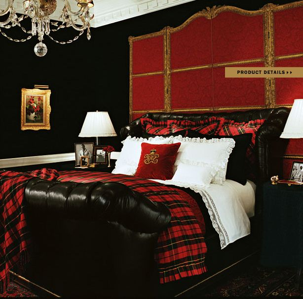 Ralph Lauren Home Noble Estate Collection Black And Red Gold Accents