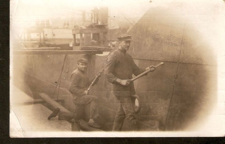 Antique Real Photo postcard Wokers at Ship Dock - Newport Mon - posted in 1910