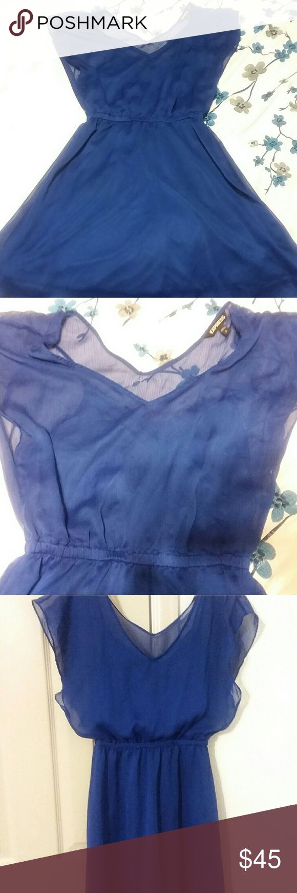 Express Mini Caftan Chiffon Blue Dress Amazing shade of blue Express mini caftan dress, perfect for summer. Shell:100% Polyester, Lining:100% Polyester. Wear with gold or silver belt and heels/sandals/flats. Make an offer! Express Dresses Mini