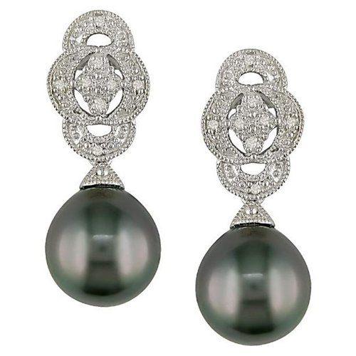 Silver Black Tahitian Pearl and Diamond Earrings