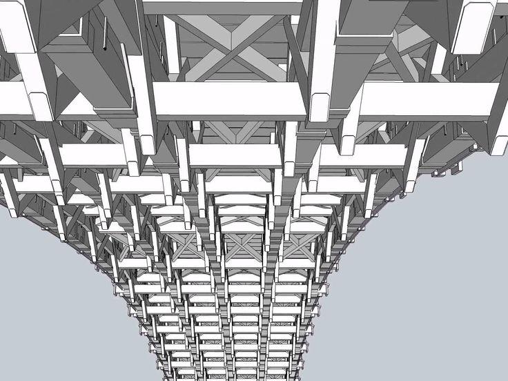 錦帯橋の構造3DCG 反橋(第4橋) Virtual Construction View of Kintaikyo-Bridge(The Arch)