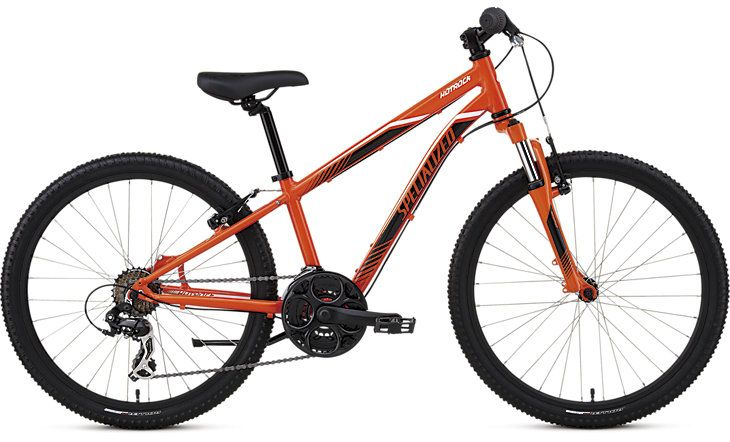 """Hotrock 24 21-Speed Boys Durable A1 Premium Aluminium frame, a suspension fork with 50mm of travel, and wide range gearing make the Hotrock 24 21-speed trail-ready for big kids. 24"""" A1 Premium Aluminium frame with low standover height plus 50mm-travel fork with preload adjust for all-terrain fun..."""