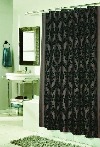 Regal Damask Flocked Velvet Luxury Fabric Shower Curtain Brown Black