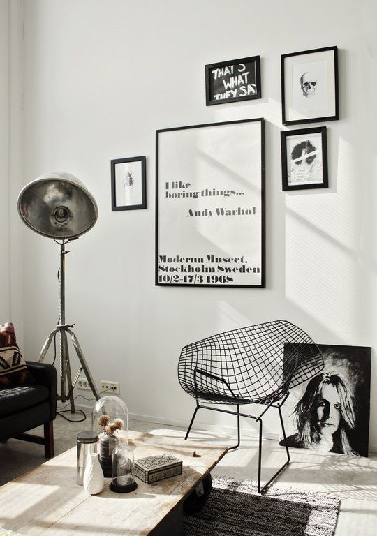 Inspiring. How to put art pieces together on a wall. Black & white vibe is very trendy.