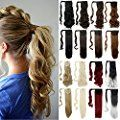 3-5 Days Delivery Wrap Around Synthetic Ponytail Clip in Hair Extensions One Piece Magic Paste Pony Tail Long Wavy Curly Soft Silky for Women Fashion and Beauty
