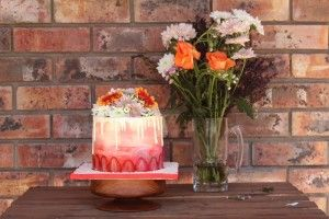 strawberry ombre cake fresh flowers chocolate drip