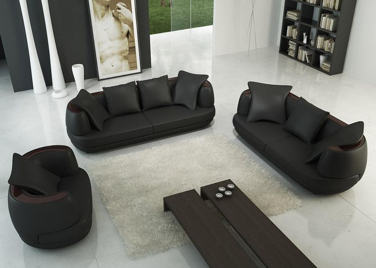 114 best LEATHER SOFA SETS images on Pinterest Leather sofa set - black living room set