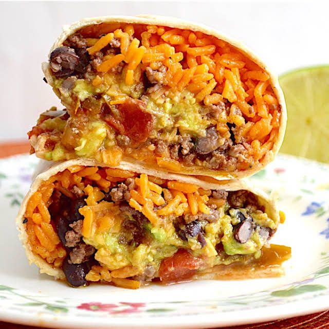 Beef And Bean Burritos Recipe Yummly Recipe In 2020 Fast Family Meals Chicken Rice Beans Bean Burritos Recipe