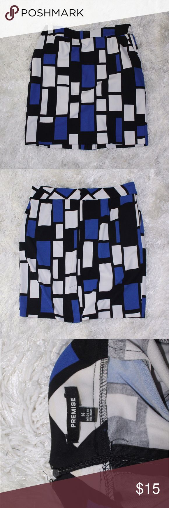 SIMPLE MOD SKIRT NEVER WORN Black blue and white mod skirt. Perfect for a casual day or night out! Skirts