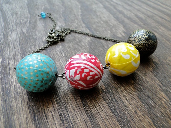 chiyogami paper necklace.