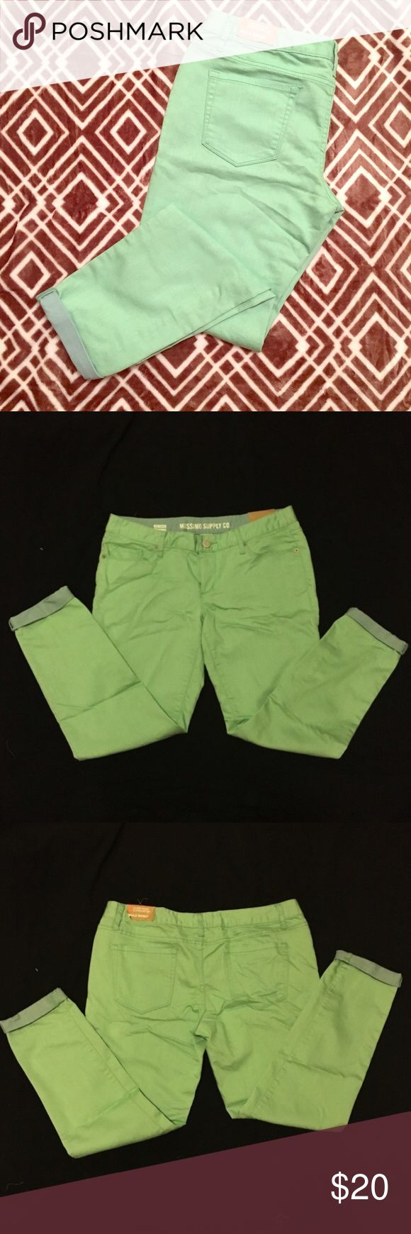 NWOT Lime Green Skinny Jeans Ankle cut. Low waist and straight hip. Skinny jeans, but very stretchy. Lime green color on outside with light blue inside. Actual color is as seen in cover photo. 70% cotton, 29% polyester, 1% spandex. Mossimo Supply Co. Jeans
