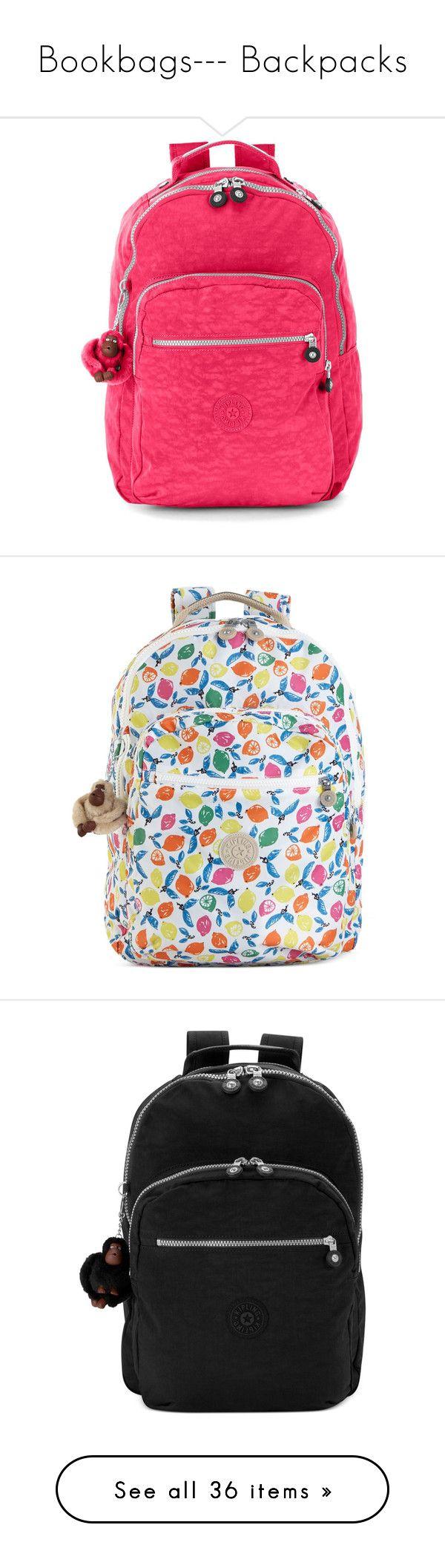 """""""Bookbags--- Backpacks"""" by alicejean123 ❤ liked on Polyvore featuring bags, backpacks, water resistant bag, padded bag, backpack bags, pink backpack, kipling bags, pocket bag, nylon bag and print backpacks"""