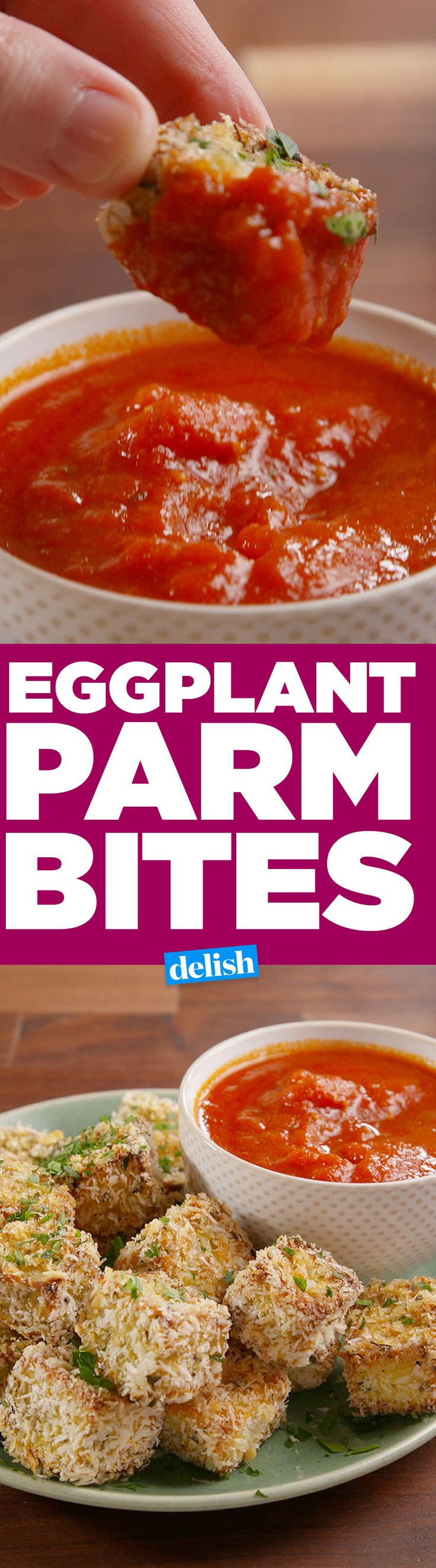 WARNING: Once you start eating these Eggplant Parm Bites, you won't be able to stop. Get the recipe on Delish.com.