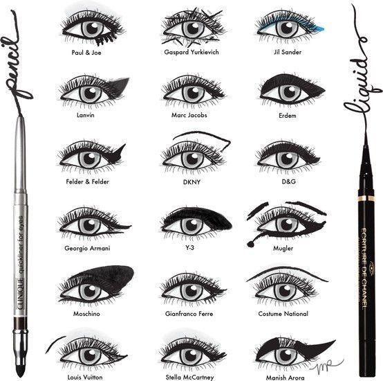 Eyeliner: all over the runway #beauty #makeup #eyeliner