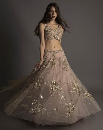 engagement lehenga, beach wedding, reception lehenga, lavender, light grey, wispy lehenga, bustier blouse, sparkly embroidery , small blouse, sheer layered lehenga