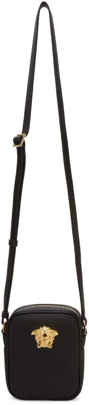 VERSACE Black Small Medusa Messenger Bag. #versace #bags #shoulder bags #leather #lining #