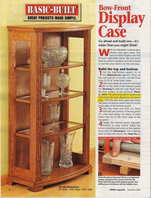 DIY Bow Front Display Case plans