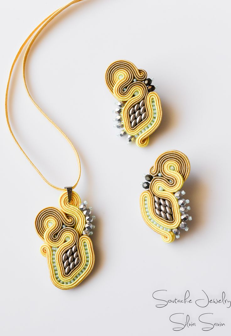 Yellow/Beige/Silver Soutache pendant and earrings
