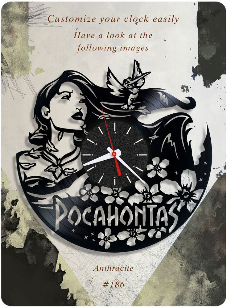 Pocahontas vinyl record clock, wall clock, walt disney, kids room decor gift 186 #newlifeofvinyl
