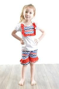 Red, white and blue chevron outfit