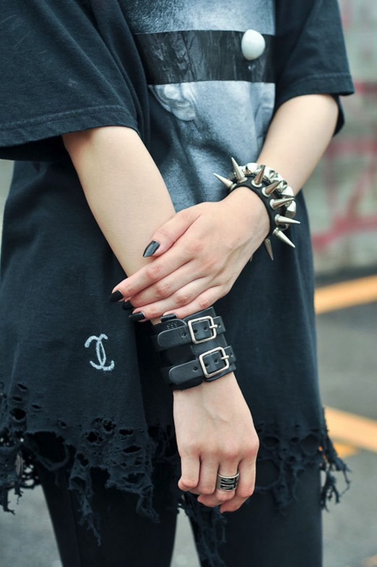 Punk Grunge Spiked Leather Bracelets - http://ninjacosmico.com/18-must-have-grunge-accessories-clothing/