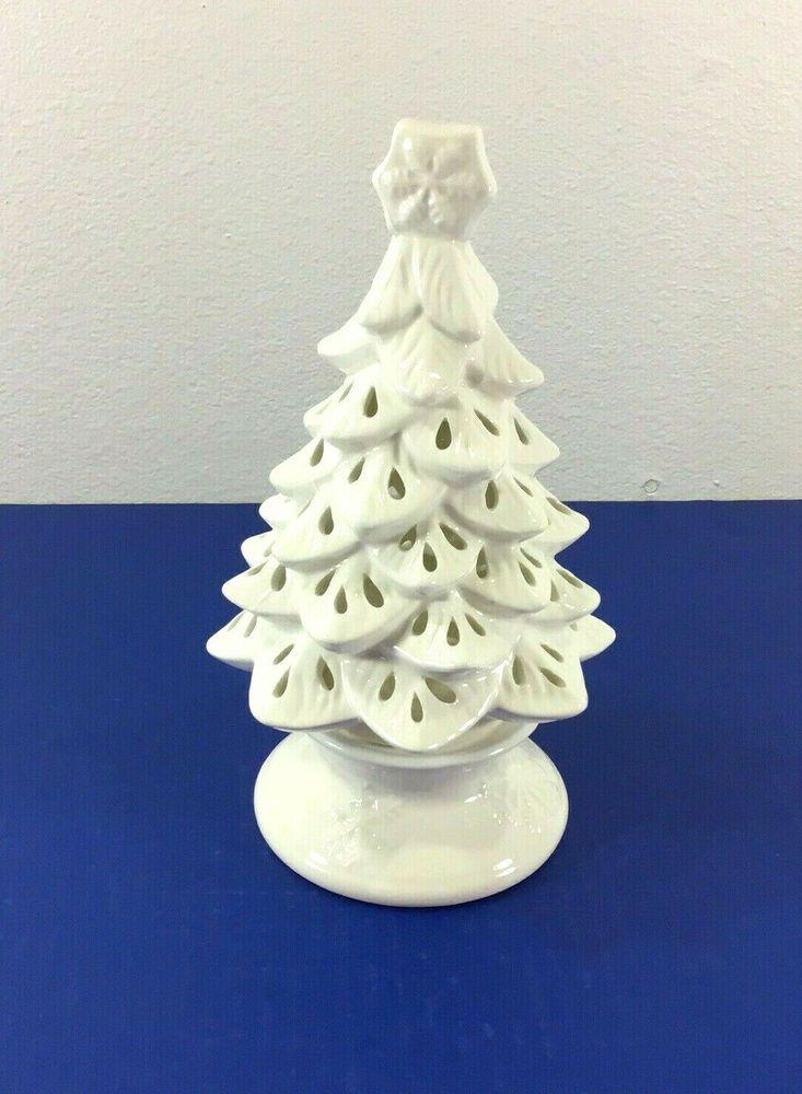 Yankee Candle Ceramic Christmas Tree White Votive Tea Light Holder Luminary Yankeecandle Christ Ceramic Christmas Trees Yankee Candle Christmas Yankee Candle