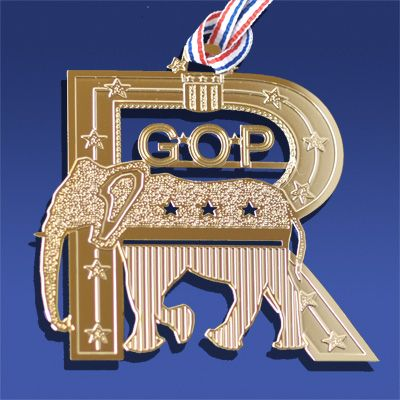 """The Republican symbol of an elephant was born in a cartoon by Thomas Nast from Harper's Weekly in 1874 when a donkey disguised as a lion was scaring away all the zoo animals, one of which was an elephant. The label """"The Republican Vote"""" was on the elephant and it stuck as the symbol of the Republican Party ever since. A great story and a great ornament! A must have!"""