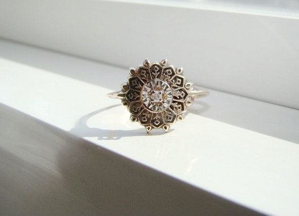 Antique Art Deco Diamond Ring Filigree Flower by PenelliBelle, $399.00