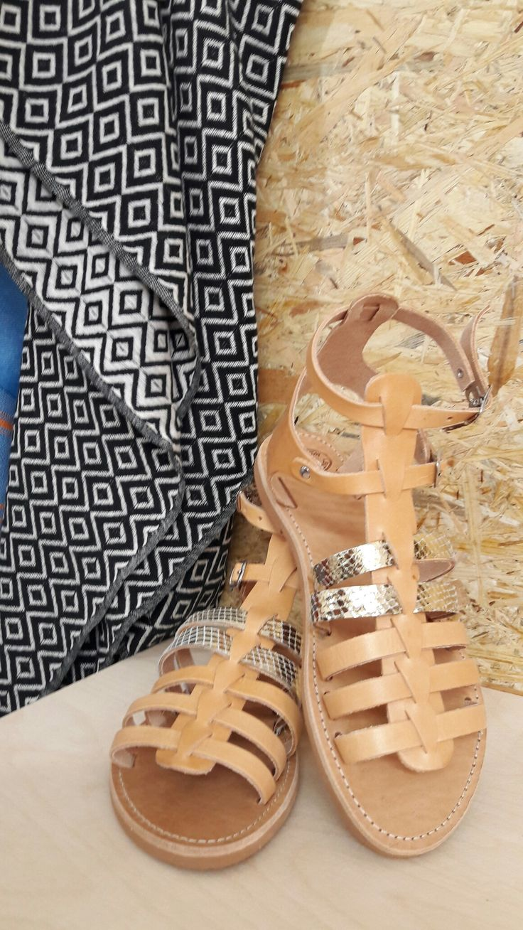 Handmade leather sandals and pestemal towel. Feel the love by Rena  Xenou