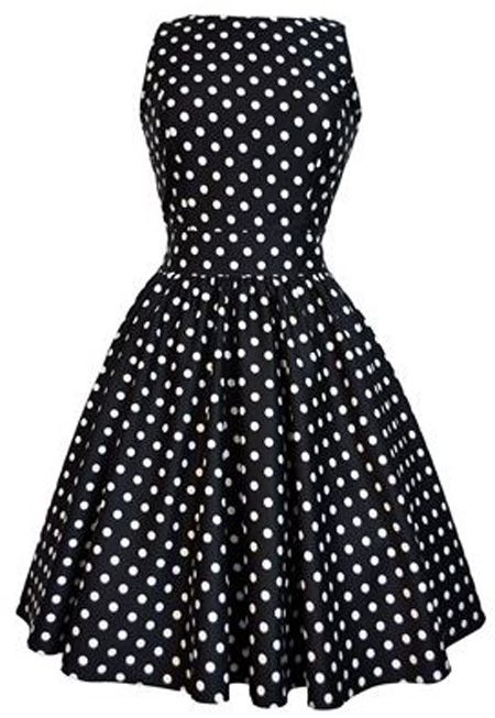 black and white polka dot 50s dress would look super cute with red shrug or red accessories and shoes