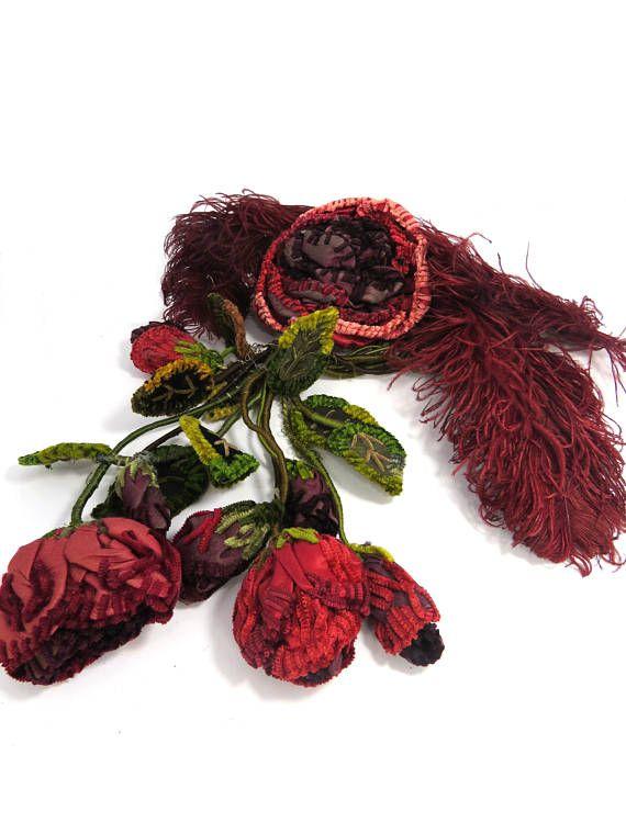 Antique Velvet Flower Roses & Leaves Bouquet Handmade
