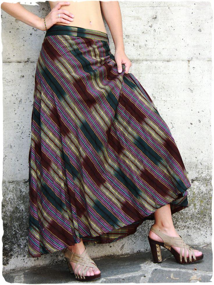 Gonna lunga Gitana #Gonna #lunga a portafoglio con cintura regolabile.  #made in #Guatemala  #100% #cotone  lavabile in lavatrice 0° Taglia Unica #Tessuto realizzato con #telaio #manuale