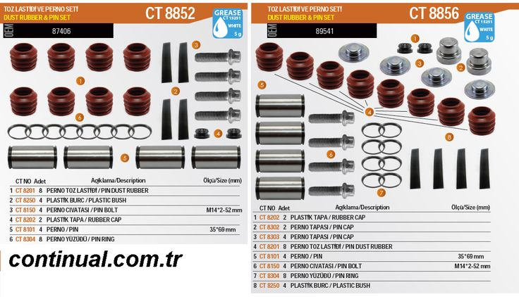 Pin Repair Kit For MARK 2 3 4 type Type Haldex Type Brake Caliper For Trucks Buses Vans and Trailer www.continual.com.tr