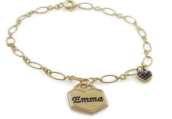 Name bracelet. Lock gold bracelet. Gold heart bracelet. Chain name bracelet. Personalized bracelet. Gold plated brass bracelet.  Gift ideas