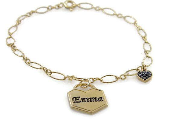 Name bracelet. Lock gold bracelet. Gold heart bracelet. Chain name bracelet. Personalized bracelet. Gold plated brass bracelet.  Gift ideas