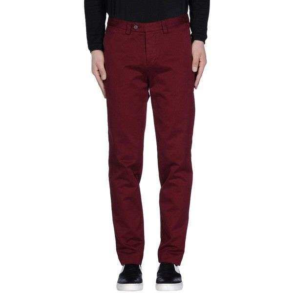 Ami  Alexandre Mattiussi Casual Pants ($134) ❤ liked on Polyvore featuring men's fashion, men's clothing, men's pants, men's casual pants, maroon, mens chinos pants, mens chino pants and mens maroon pants