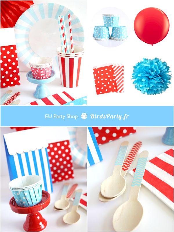 NEWS: Boutique en français et en Euros sur BirdsParty.fr - Article des Fête, Art de La  table, Décorations #bleublancrouge #sweettables #14juillet #ratdelatable #décorations #party
