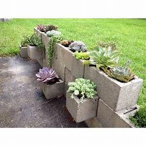 Succulent cinder block garden | gardening | Pinterest ...